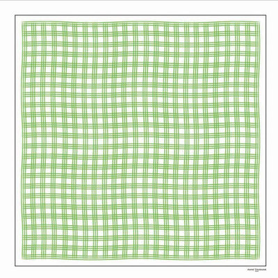 Green and white extra large silk scarf with a fresh and modern stripe pattern: versatile and easy to wear all year round. Scarf ANNE TOURAINE Paris™ (2)