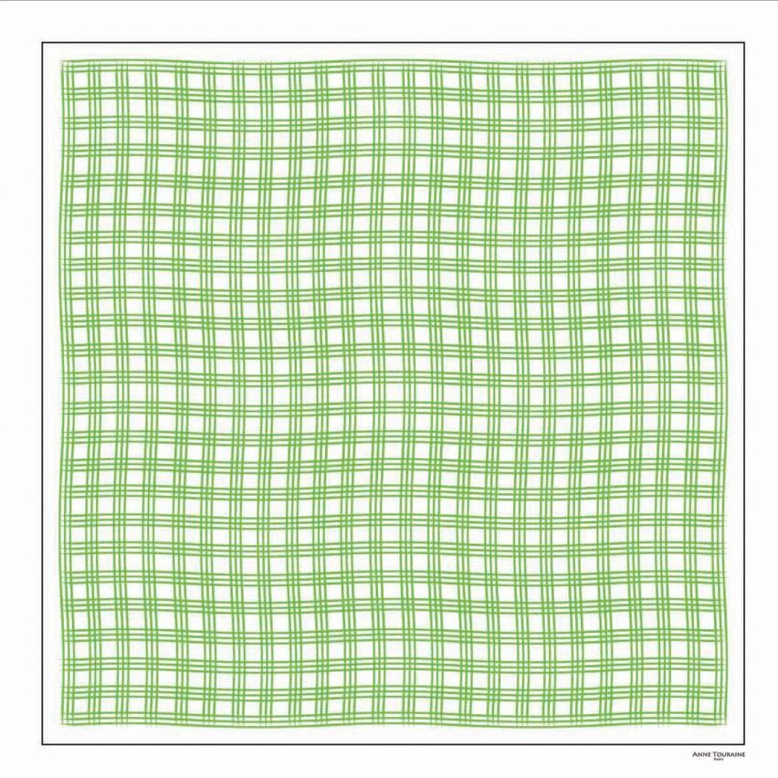 Green and white extra large silk scarf with a fresh and modern stripe pattern: versatile and easy to wear all year round. Scarf ANNE TOURAINE Paris™ (1)