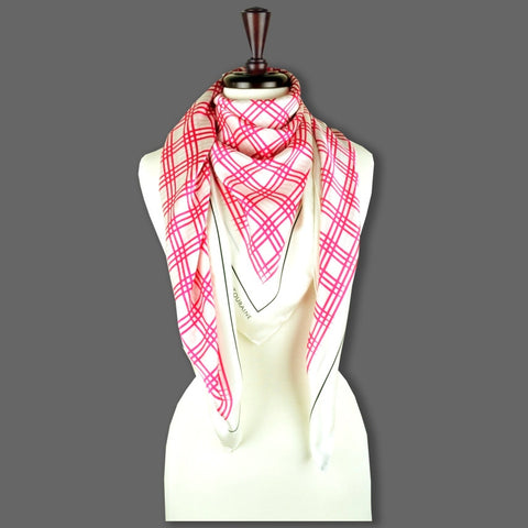 Pink and white extra large silk scarf with a fresh and modern stripe pattern: versatile and easy to wear all year round. Scarf ANNE TOURAINE Paris™ (6)