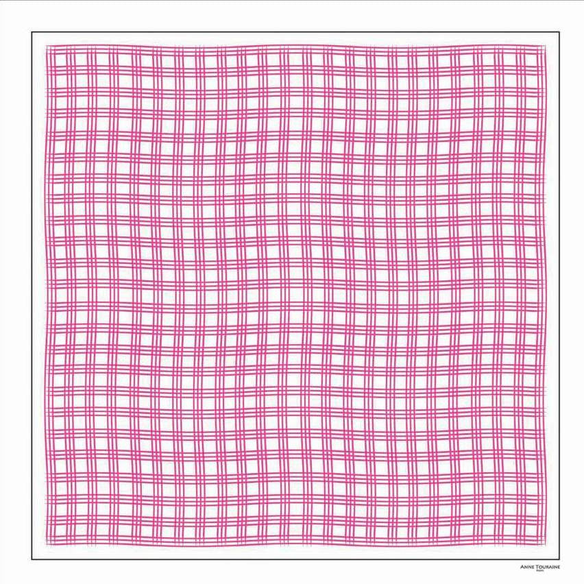 Pink and white extra large silk scarf with a fresh and modern stripe pattern: versatile and easy to wear all year round. Scarf ANNE TOURAINE Paris™ (1)