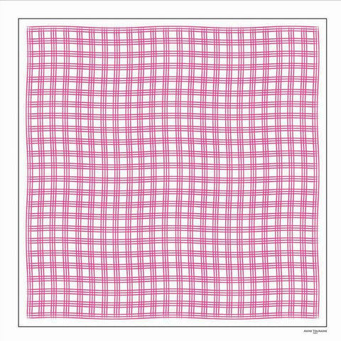 Pink and white extra large silk scarf with a fresh and modern stripe pattern: versatile and easy to wear all year round. Scarf ANNE TOURAINE Paris™ (2)