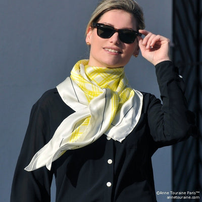 Yellow and white extra large silk scarf with a fresh and modern stripe pattern: versatile and easy to wear all year round. Scarf ANNE TOURAINE Paris™ (4)
