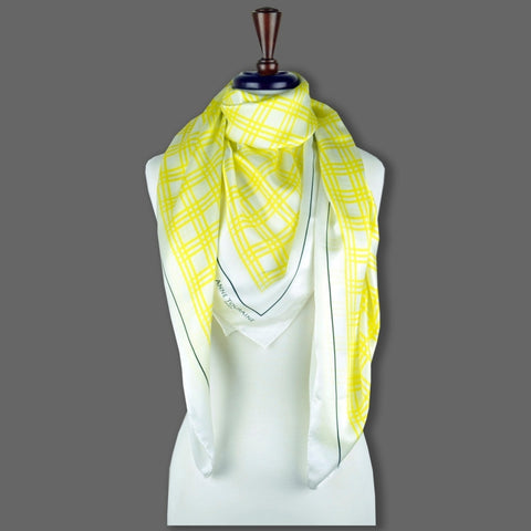 Yellow and white extra large silk scarf with a fresh and modern stripe pattern: versatile and easy to wear all year round. Scarf ANNE TOURAINE Paris™ (6)