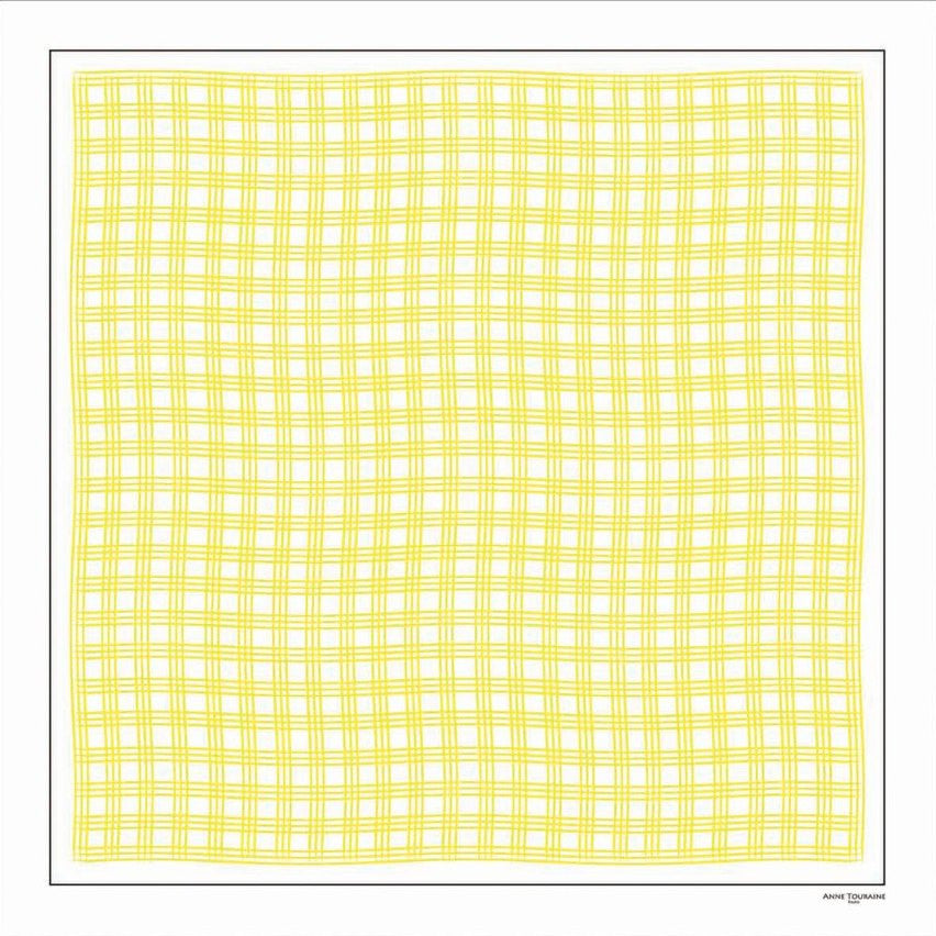 Yellow and white extra large silk scarf with a fresh and modern stripe pattern: versatile and easy to wear all year round. Scarf ANNE TOURAINE Paris™ (1)