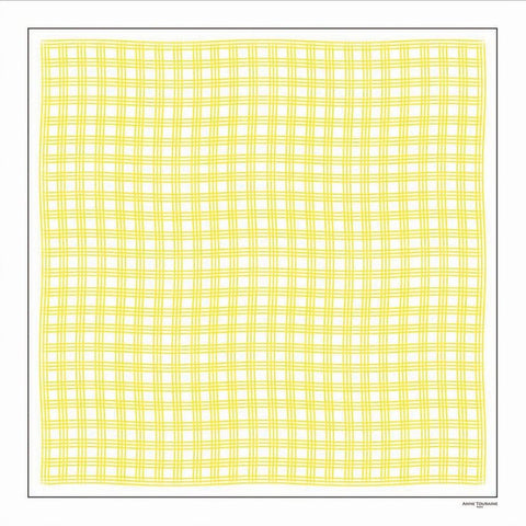Yellow and white extra large silk scarf with a fresh and modern stripe pattern: versatile and easy to wear all year round. Scarf ANNE TOURAINE Paris™ (2)