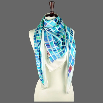 Turquoise and navy blue extra large silk scarf with a contemporary ethnic pattern: versatile and easy to wear all year round. Scarf ANNE TOURAINE Paris™ (6)