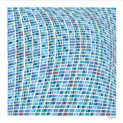 Turquoise and navy blue extra large silk scarf with a contemporary ethnic pattern: versatile and easy to wear all year round. Scarf ANNE TOURAINE Paris™ (2)