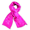Pink silk chiffon scarf with dog pattern, oblong shape: a perfect gift for dog lovers. Scarf by ANNE TOURAINE Paris™ (0)