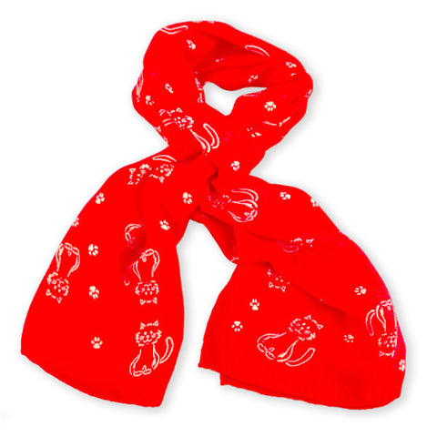 Red silk chiffon scarf with cat pattern, oblong shape: a perfect gift for cat lovers. Scarf by ANNE TOURAINE Paris™ (0)