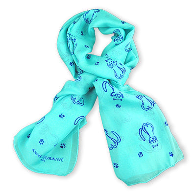 Turquoise blue silk chiffon scarf with cat pattern, oblong shape: a perfect gift for cat lovers. Scarf by ANNE TOURAINE Paris™ (0)