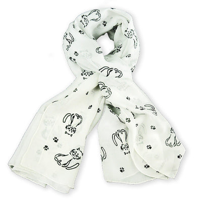 Pale grey silk chiffon scarf with cat pattern, oblong shape: a perfect gift for cat lovers. Scarf by ANNE TOURAINE Paris™ (0)
