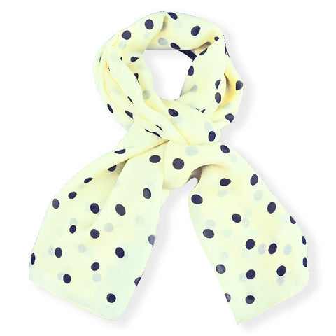 Champagne polka dot silk chiffon scarf, oblong shape. Lightweight and easy to tie. Scarf by ANNE TOURAINE Paris™ (0)