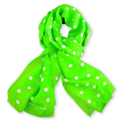 Vivid green polka dot silk chiffon scarf, oblong shape. Lightweight and easy to tie. Scarf by ANNE TOURAINE Paris™ (0)