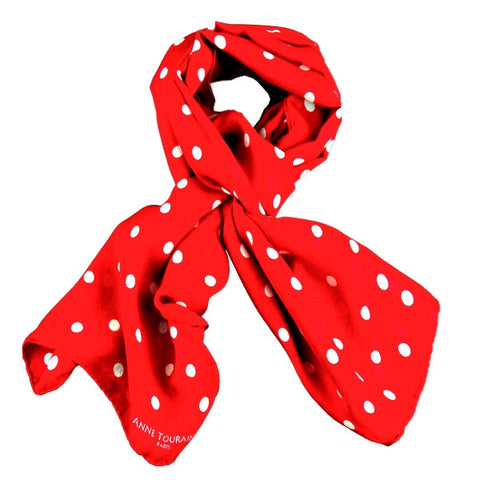 Red polka dot silk chiffon scarf, oblong shape. Lightweight and easy to tie. Scarf by ANNE TOURAINE Paris™ (0)