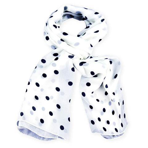 White polka dot silk chiffon scarf, oblong shape. Lightweight and easy to tie. Scarf by ANNE TOURAINE Paris™ (0)