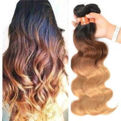 100% Human Hair Tri-color gradient curly hair weft