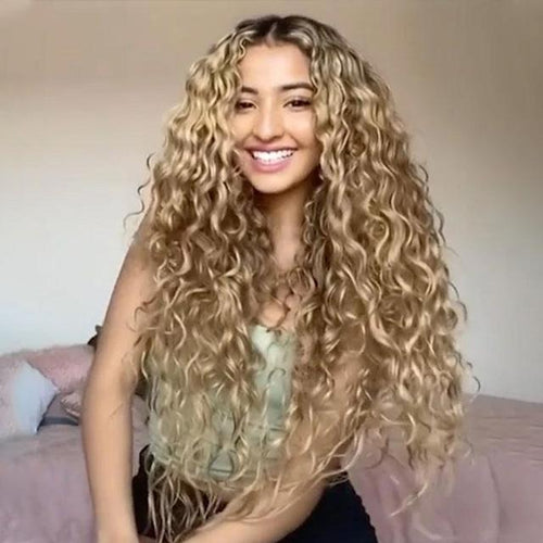 Curly Pre Plucked Heat Resistant Blonde Wigs For Women