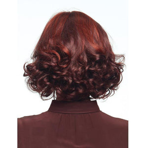 Real mixed red wavy full wig