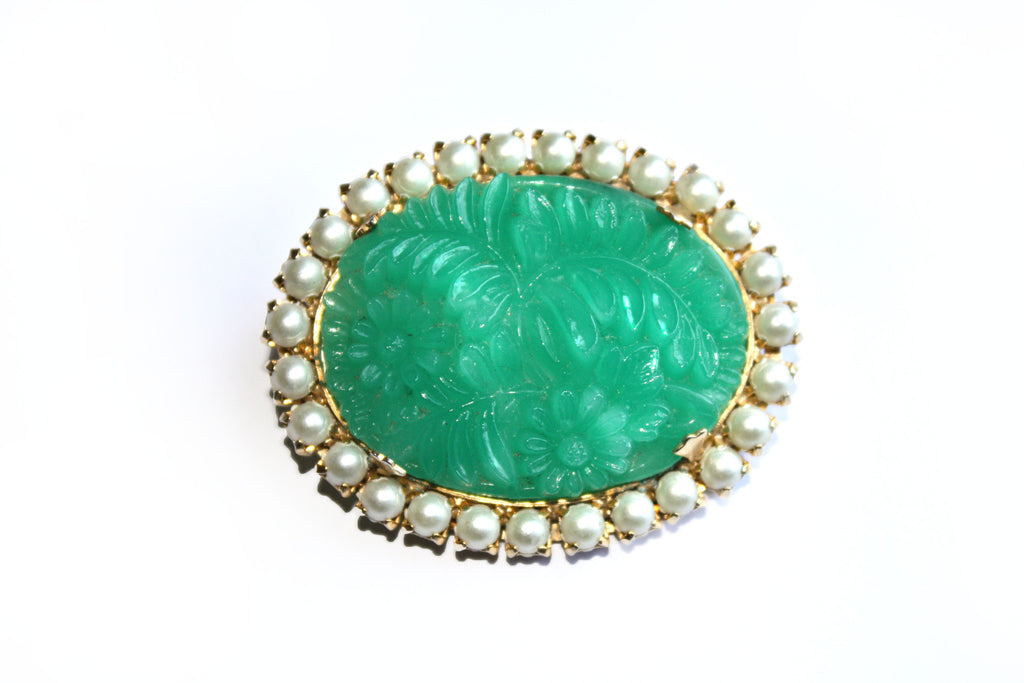 Glass Faux Jade and Faux Pearl Brooch