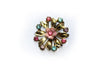 Pink And Blue Gem Flower Brooch
