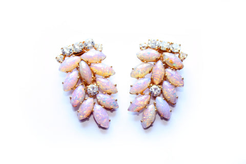 1950s Faux Opal Pearl and  Diamanté Dress Clips