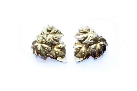 1940s Brass Leaf Motif Dress Clips