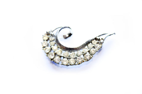 Diamanté Scroll Brooch
