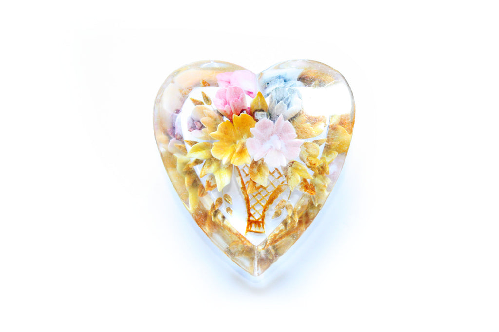 1950s Heart Shaped Floral Brooch