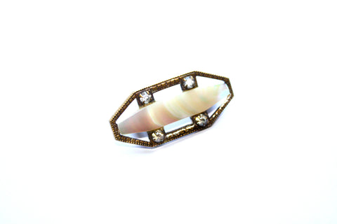 Victorian Clear Paste & Mother of Pearl Brooch