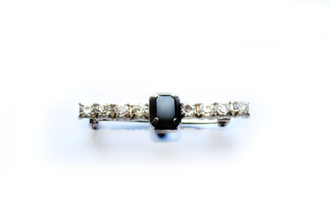 Art Deco French Jet and  Diamanté Bar Brooch