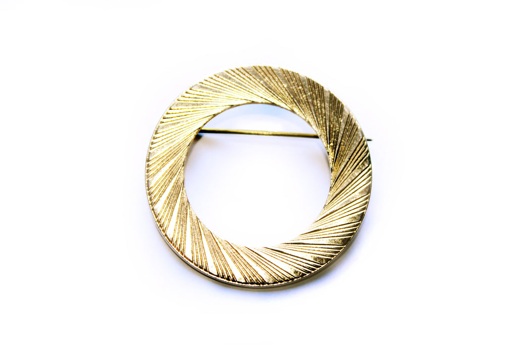 1960s Linear Pattern Mod Scarf Brooch