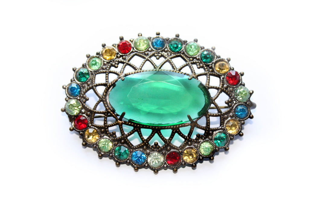 1920s Ornate Lattice Rhinestone Brooch