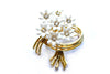 "1950s White Flowers Brooch by ""Coro"""