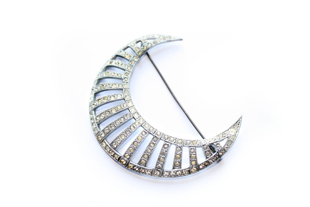 "Art Deco Sickle Moon Rhinestone Brooch Signed ""Tcheco Slovaquie"""