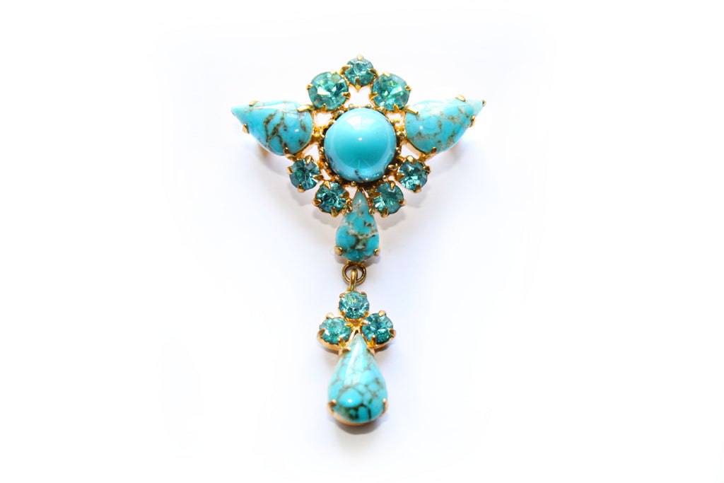 1950s/1960s Turquoise Coloured Stone Brooch
