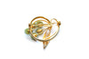 1940s Gold Leaf Brooch with Green Lucite Stones