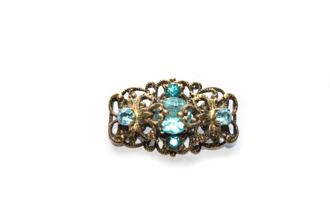1940s Blue Gemstone Filigree Brooch