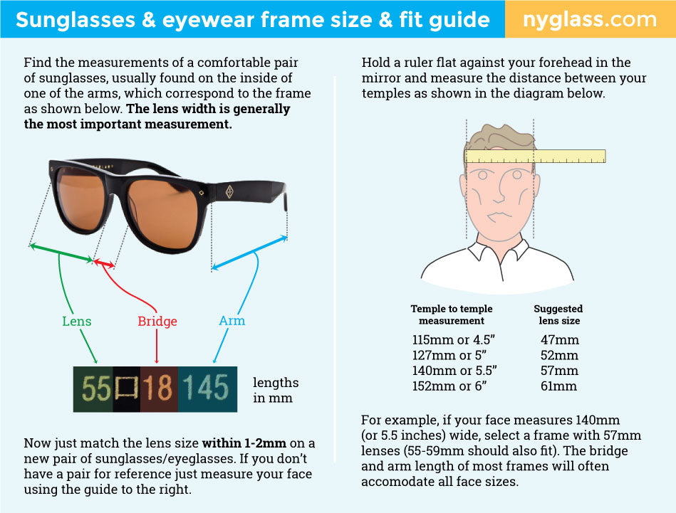 How to choose the right size sunglasses/eyewear frame size & fit ...