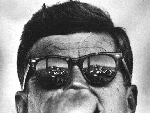 President Kennedy wearing Ray-Ban Wayfarer sunglasses