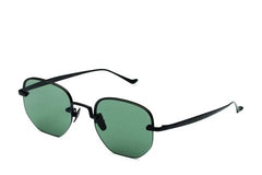 Italia Independent - Roy Matte Black Sunglasses / Full Green Lenses
