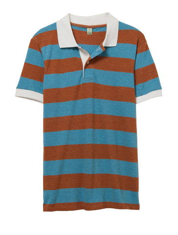 Alternative Apparel - Ugly Striped Eco True Rust Eco True Turquoise Polo Shirt