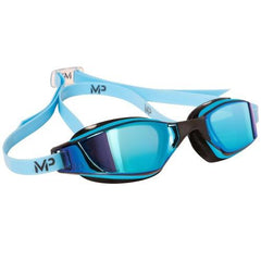 MP Michael Phelps XCEED Titanium Mirror Blue / Black Swim Goggles