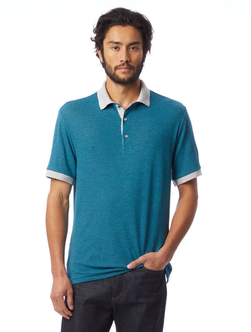 Alternative Apparel - Classic Striped Eco-Jersey Ocean Teal Overdye Stripe Polo Shirt