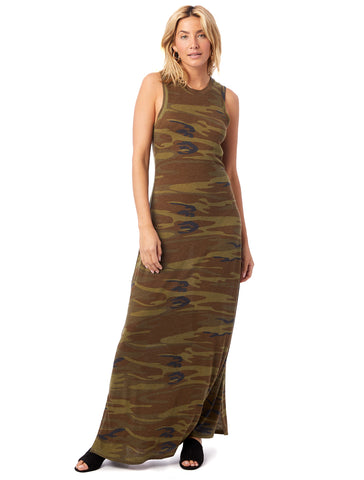 Alternative Apparel - Eco-Jersey Printed Side Slit Maxi Tank Camouflage Dress