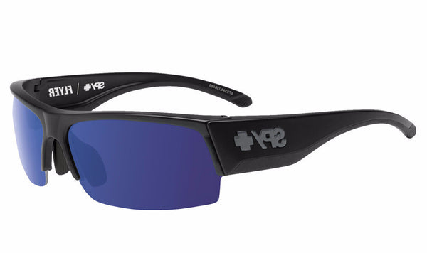 Spy - Flyer Black Sunglasses, Happy Bronze Polar W/ Dark Blue Spectra + Happy Rose + Clear Lenses