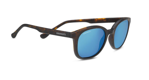 Serengeti - Mara Matte Tortoise Sunglasses / Mineral Polarized 555nm Blue Lenses