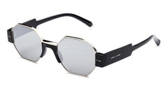 Italia Independent - Raymond Black + Grey Acetate Sunglasses / Silver Mirror Lenses