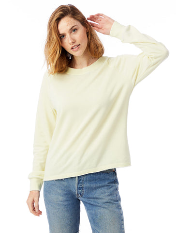 Alternative Apparel - Lazy Day Burnout French Terry Pullover Pale Yellow Sweatshirt