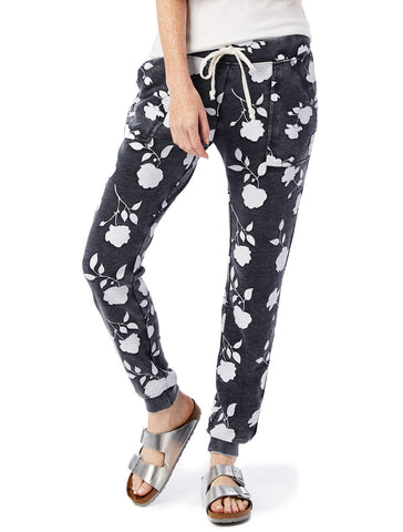 Alternative Apparel - Long Weekend Printed Burnout French Terry Washed Black Shadow Rose Pants