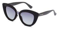 Italia Independent - Messina Black Velvet Glitter Sunglasses / Shaded Grey Lenses